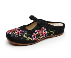 (Musim Semi Musim Panas Lily), bagian Urat Kendang Lereng dengan Kecil Elegan Gaya Rakyat Velcro Single Sandal Bordir Bunga Modis Gaya Tradisional Modern Budaya Asia Katun Murni Wanita sepatu Kanvas Anak Perempuan-Intl