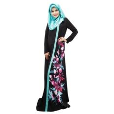 Spring Women Lady Kaftan Abaya Jilbab Islamic Muslim Floral Long Sleeve Maxi Dress(Black)
