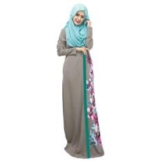 Spring Women Lady Kaftan Abaya Jilbab Islamic Muslim Floral Long Sleeve Maxi Dress(Grey)