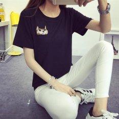 SPRING/Summer Outfit Baru Putaran Kerah Pendek Lengan T-shirt Wanita Asli SuFeng BF