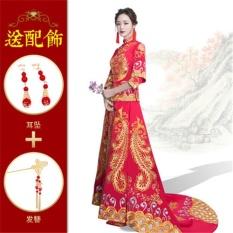 SQLIFE Malaysia Tradisional Bride Gaun Merah Pernikahan Gaun Naga dan Phoenix Mantel Bordir Kostum Cheongsam Pernikahan Gaun Malam-Intl