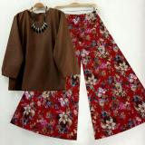 Spesifikasi Sr Collection Best Seller Set 2 In 1 Blouse Kulot Wanita Fitri Coklat Maroon Merk Sr Collection