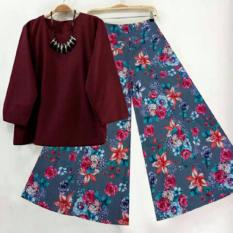 SR Collection Best Seller Set 2 in 1 Blouse Kulot Wanita Fitri - Maroon Abu