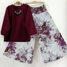 SR Collection Best Seller Set 2 in 1 Blouse Kulot Wanita Fitri - Maroon Putih New