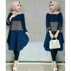 SR Collection Best Seller Tunik Wanita Zoya Lengan Panjang - Navy