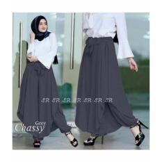 SR Collection Celana Wanita Kulot Rok New Design Chassier Pants - Abu