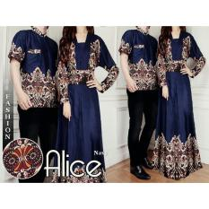 Jual Sr Collection Couple Batik Muslim Pria Wanita Alicen Navy Murah