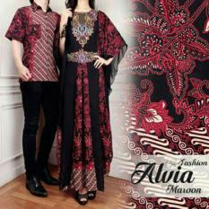 SR Collection Couple Batik Muslim Pria Wanita Alvianasyah - Maroon