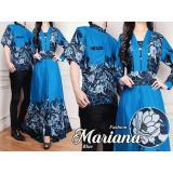 Spesifikasi Sr Collection Couple Batik Muslim Pria Wanita Marianalimsyah Biru Murah