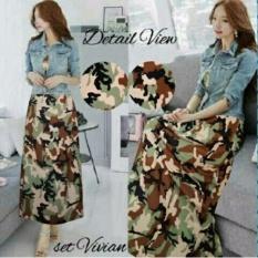Sr Collection Maxy Wanita Motif Jersey Set Jaket Jeans Wash Vevean Motif Army Sr Collection Diskon 40