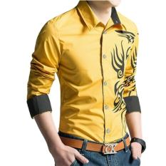 Promo Sr Collection Men S Casual Long Sleeve Shirt Best Seller Marcel Cotton Stretch Combination Bordir Kuning Sr Collection