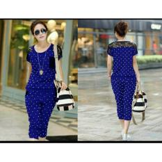 Sr Collection Set 2 In 1 Pakaian Wanita Brukat Spandek Chichay Biru Asli