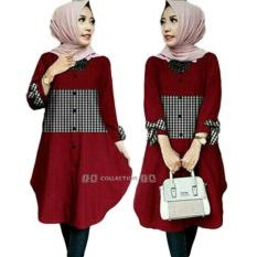 SR Collection Tunik Wanita Zoya Lengan Panjang Best Seller - Maroon
