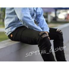 SR_Cloth Celana Jeans Pria Sobek Ripped Premium [Hitam]
