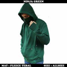 Sr Cloth Jaket Hoodie Ninja Polos Hijau Army Original
