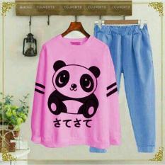 ST Panda Merah Muda , Baju Setelan Wanita - MS