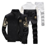 Dimana Beli Stand Collar Sports Outdoors Zipper Jaket Musim Dingin Fashion Grey Jaket Celana Suit Long Celana Laki Laki Mode Sport Jas Hitam Intl New Brand