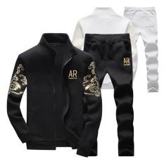 Harga Stand Collar Sports Outdoors Zipper Jaket Musim Dingin Fashion Grey Jaket Celana Suit Long Celana Laki Laki Mode Sport Jas Hitam Intl New Brand Ori