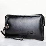 Jual Clutch Bag Pu Kulit Pria Panjang Tas Zipper Bisnis Dompet Handbag Hitam Import