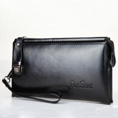 Beli Clutch Bag Pu Kulit Pria Panjang Tas Zipper Bisnis Dompet Handbag Hitam Online Murah