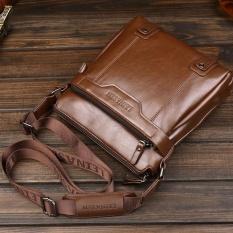 Star Never Fashion Pria Tas Tote Leinasen Pu Kulit Tahan Air Briefcase Shoulder Bag Kopi Asli