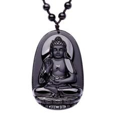 Bintang Mall Uniseks Hitam Alami Seperti Obsidian Ukiran Budha Amulet Liontin Keberuntungan Buddhisme Liontin Hadiah untuk
