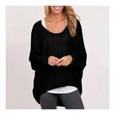 Bintang Mall Wanita Plus Ukuran Panjang Lengan Sweter Tanpa Kancing Sweater Kebesaran Longgar Longgar Jumper Atasan Warna Hitam Ukuran (Wanita) XL-Internasional