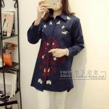 Harga Longgar Katun Korea Bagian Panjang Indah Bordir Kemeja Pakaian Wanita Kemeja Biru Tua Branded