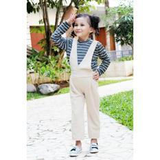 Harga Stelan Anak Jumsuit Stripe G*rl Grey Khaki Satu Set