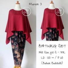 Spesifikasi Stelan Atasan Blouse Batwing Kebaya Dan Rok Lilit Wanita Jumbo Long Skirt Nadya Maron Dan Harga