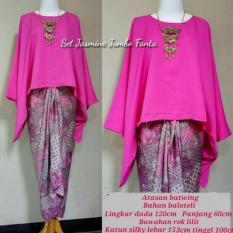 Harga Stelan Atasan Blouse Batwing Kebaya Dan Rok Lilit Wanita Jumbo Long Skirt Nadya Pink Murah