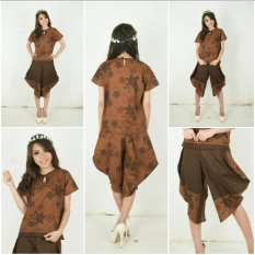 Stelan atasan blouse dan celana pendek batik wanita jumbo short pant Conita