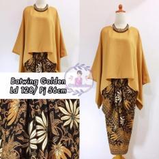 Harga Stelan Atasan Blouse Kebaya Batwing Dan Rok Lilit Wanita Jumbo Long Skirt Nadya Golden Baru Murah