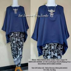 Stelan atasan blouse kebaya batwing dan rok lilit wanita jumbo long skirt Nadya - navi