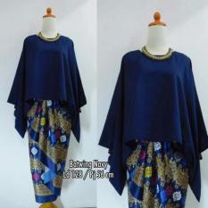 Jual Stelan Atasan Blouse Kebaya Batwing Dan Rok Lilit Wanita Jumbo Long Skirt Nadya Navi Dress Asli