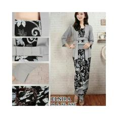 Stelan Baju Batik Wanita / Kebaya Modern Kutubaru Plus Rok Lilit/ Stelan Kebaya Pesta Elnira Motif Paya Grey Ready Size M.L Dan XL