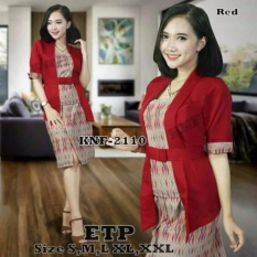 Stelan baju batik kebaya modern kutu baru & rok lilit. Elnira Lengan pendek. keluaran terbaru MERAH