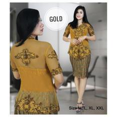 Stelan Kebaya Pesta / Kebaya Moderen Stik Bordir Warna Gold Plus Inner Ready Sz M L Dan XL