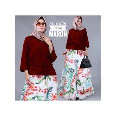 Stelan Kulot Bunga Linen Bangkok Plus Blouse Baloteli Candy Warna Maroon (No Hijab)