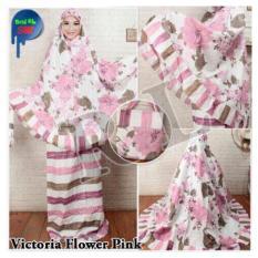 Stelan Mukena Katun Jepang Victoria Flower - Pink