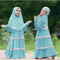 Stelan Muslim Zenna Syari Kid Biru Muda Fashion Anak Gamis Dres Anak