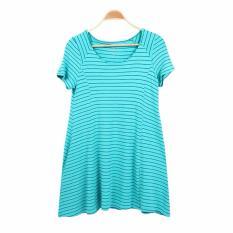 Stock Online Dress A Line Motif Stripe  - Tosca