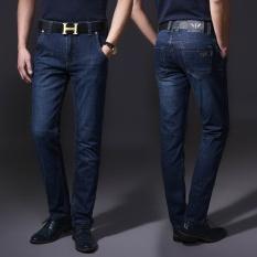 Beli Stretch Jeans Bisnis Lurus Pinggang Dicuci Jeans Cicilan