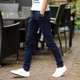 Toko Celana Panjang Pria Elastis Lurus Membentuk Tubuh Biru Navy Dekat Sini