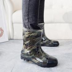 STS Pria Kamuflase Rain Boots-hijau Tentara-Intl