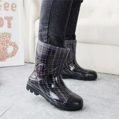 STS Pria Kamuflase Rain Boots-Hitam Plaid-Intl