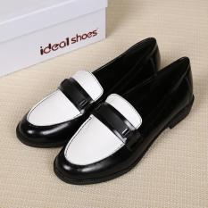 Siswa Sepatu Loafer Kulit Imitasi Size41 Round Toe Putih dan Hitam Diblokir Warna-Intl