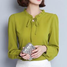 Elegan OL Profesi Baju Dalaman Baru Kemeja (Hijau gelap lengan panjang) baju wanita baju atasan kemeja wanita blouse wanita