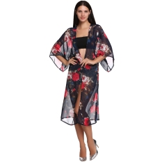 Stylish LADIES Wanita Elegan 3/4 Lebar Lengan Ultralong Fashion Chiffon Floral Cardigan