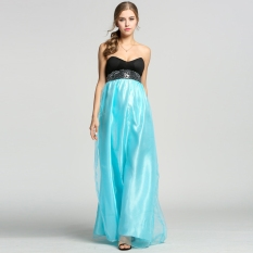 Stylish LADIES Wanita Seksi Bridesmaid Strapless Organza Wedding Maxi Gaun Pesta-Intl